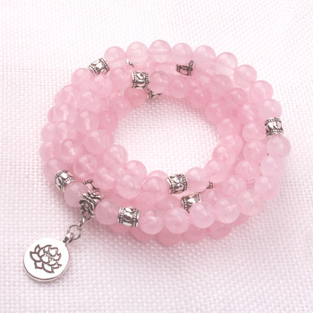 Bracelet Mala de 108 perles en quartz rose