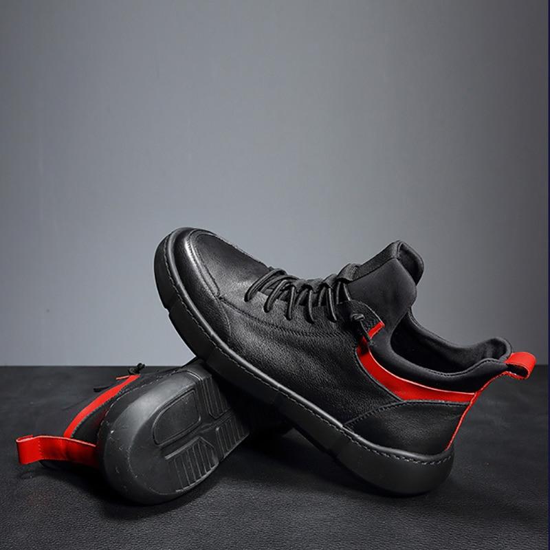 Cuir De bleu Respirant Bottes Automne Noir Cachemire En Sneaker Rétro Peluche Mode Hiver Tout Britannique Chaussures Véritable D'hiver Hommes Vache allumette awg6Rxnxq