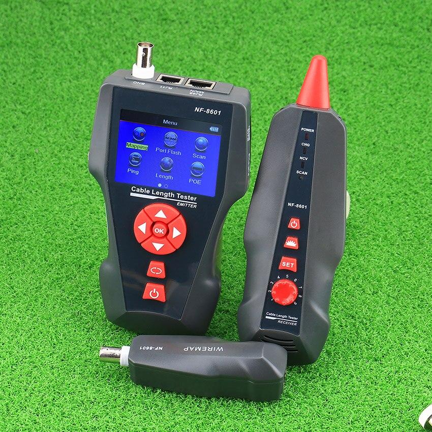 Vente chaude NF-8601 multi-fonctionnel Testeur De Câble Réseau Câble LCD Testeur de Point D'arrêt Testeur Pour RJ45, RJ11, BNC, PING/POE avec DU CE