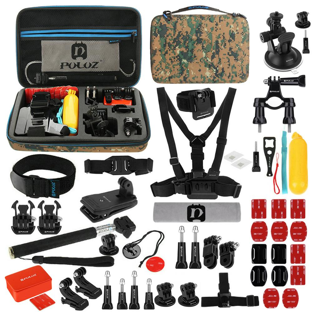 5 Styles For Gopro Accessories Sets With EVA Case Selfie Stick For Gopro Hero 7 6