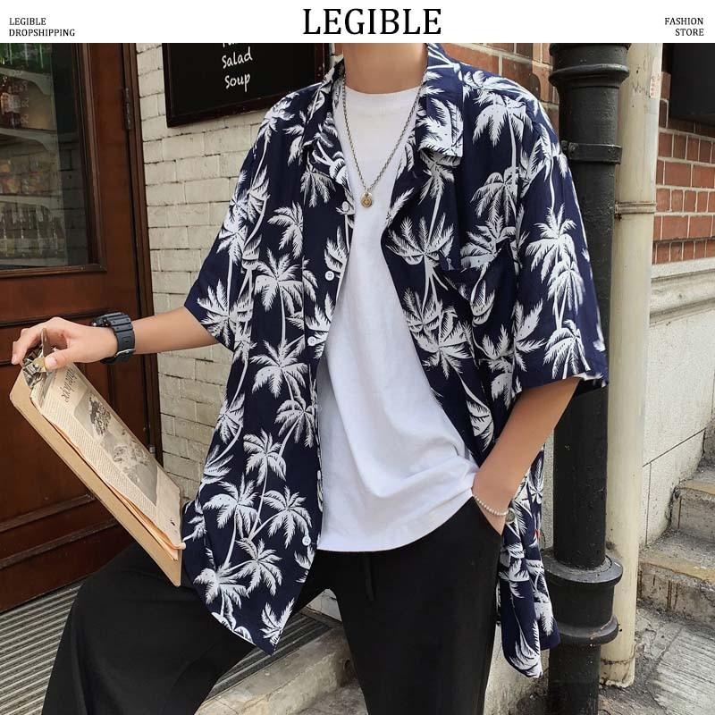 LEGIBLE Floral Shirt Men 2019 Men Korean Fashion Short Sleeve Shirt Male Hawaiian Shirts Casual Loose Clothes Men