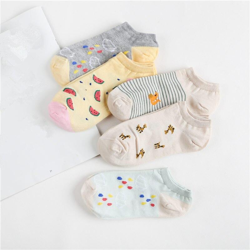 5 Pairs 2019 Korean Autumn Winter Warm Women Socks Cartoon Cute Cotton Ankle Short Sock Animal Print Sox