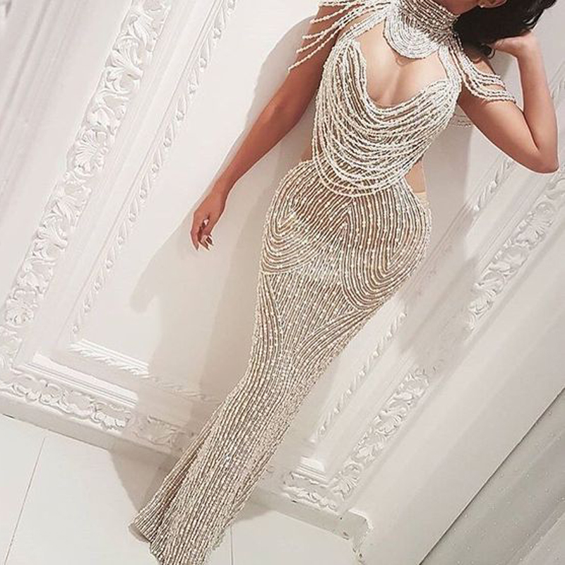 Glitter Beaded Prom Dress Luxury Handmade Sexy Mermaid Prom Dresses Open Back Graduation Party Dresses Black Girl Evening Dress