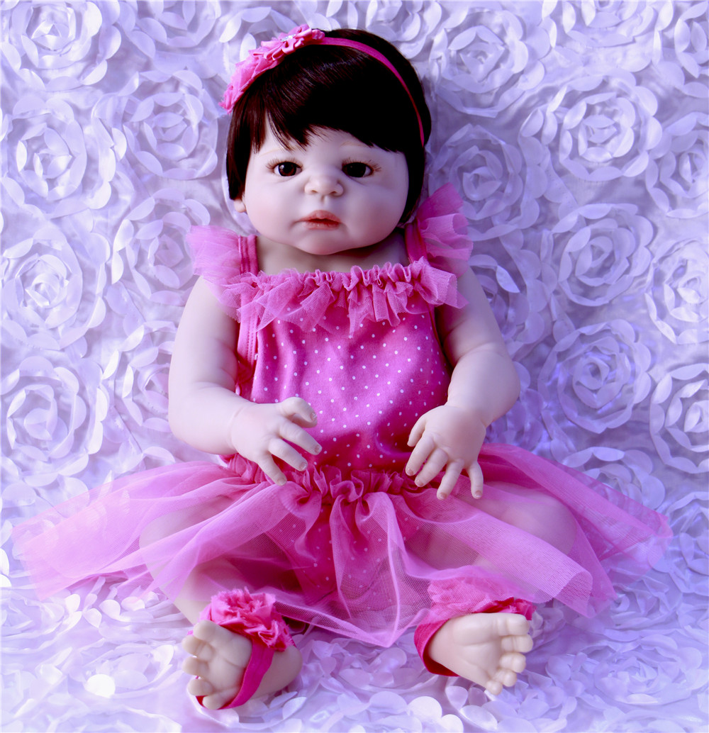57 cm Full Silicone Body 23 Baby Doll Toy For Girl Lifelike Babies Reborn Doll Real Princess Wear Pink Dress For Children Toys57 cm Full Silicone Body 23 Baby Doll Toy For Girl Lifelike Babies Reborn Doll Real Princess Wear Pink Dress For Children Toys