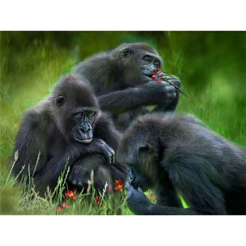 ღ ღ5d diamante bordado animales gorila Cruz puntada rhinestone ...