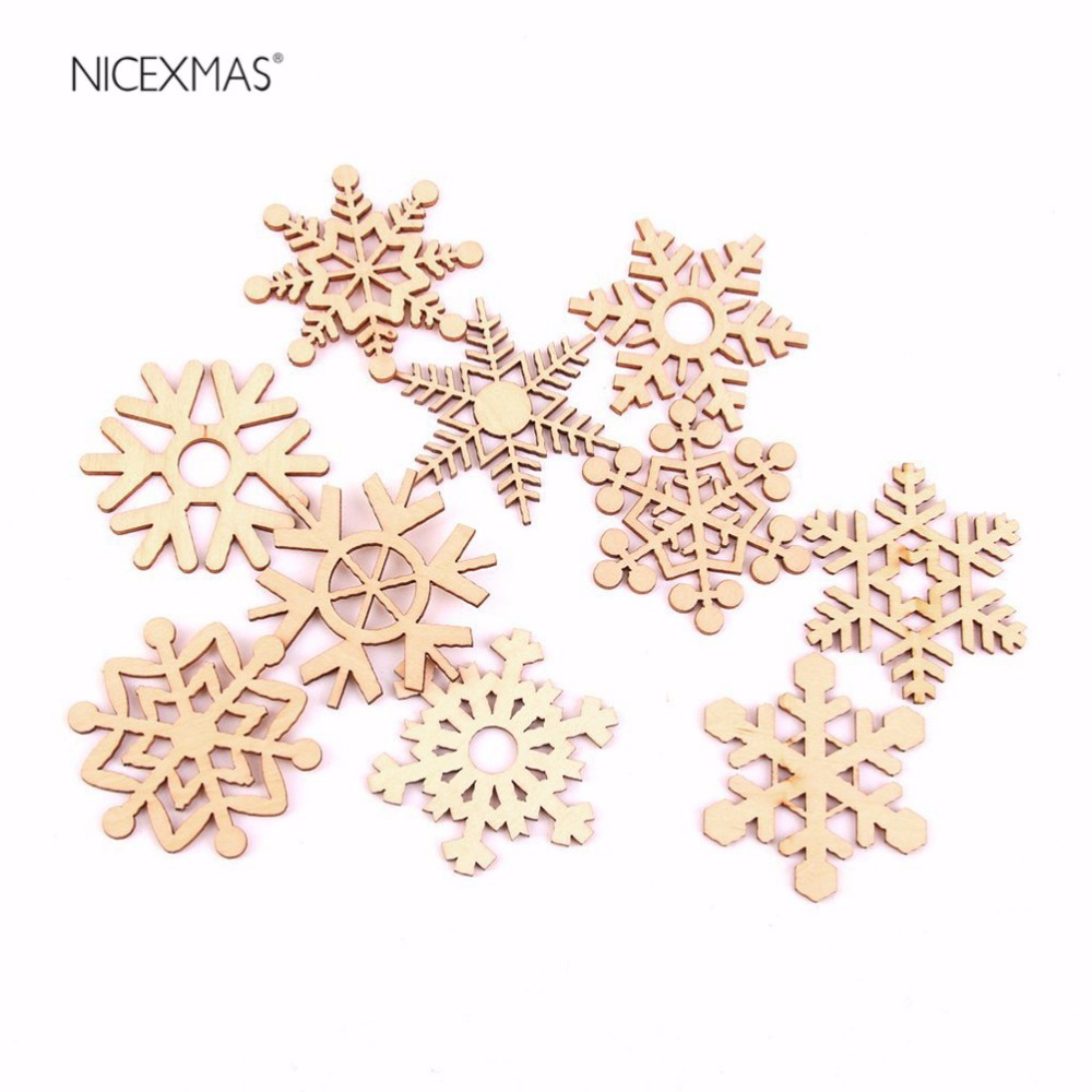 50pcs Christmas Holiday Wooden Collection Snowflakes Buttons Snowflakes Embellishments 18mm Creative Decoration A Complete Range Of Specifications Home & Garden