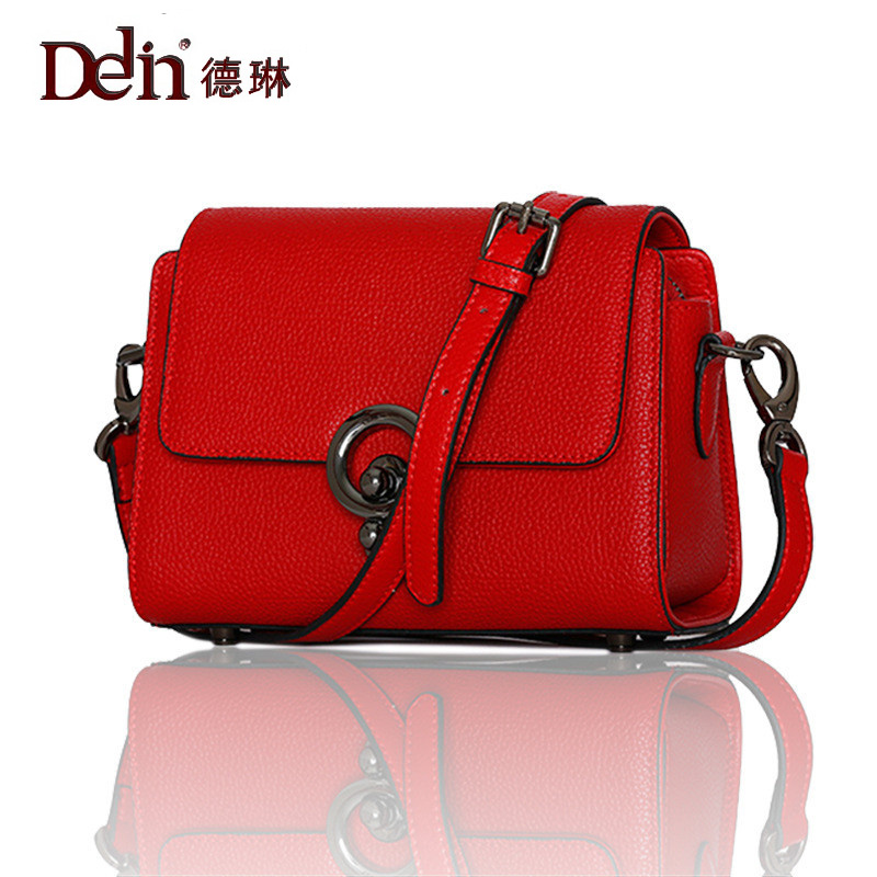 DELIN  version of the new summer leather embossed ladies fashion all-match lock buckle leather shoulder bag for small package all summer long