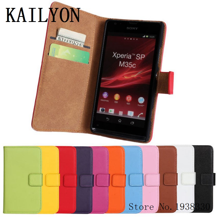 KAILYON Luxury Genuine Leather Case For Sony Xperia SP M35h M35C C5302 C5303 C5306 Wallet Flip Style Cell Phone Cover Bag With CKAILYON Luxury Genuine Leather Case For Sony Xperia SP M35h M35C C5302 C5303 C5306 Wallet Flip Style Cell Phone Cover Bag With C