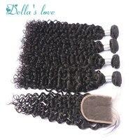 Бразильский глубокий вьющиеся 100% человеческих волос пучки с закрытием Волосы remy Расширения Natural Цвет Ткань Бесплатная доставка деллас любо