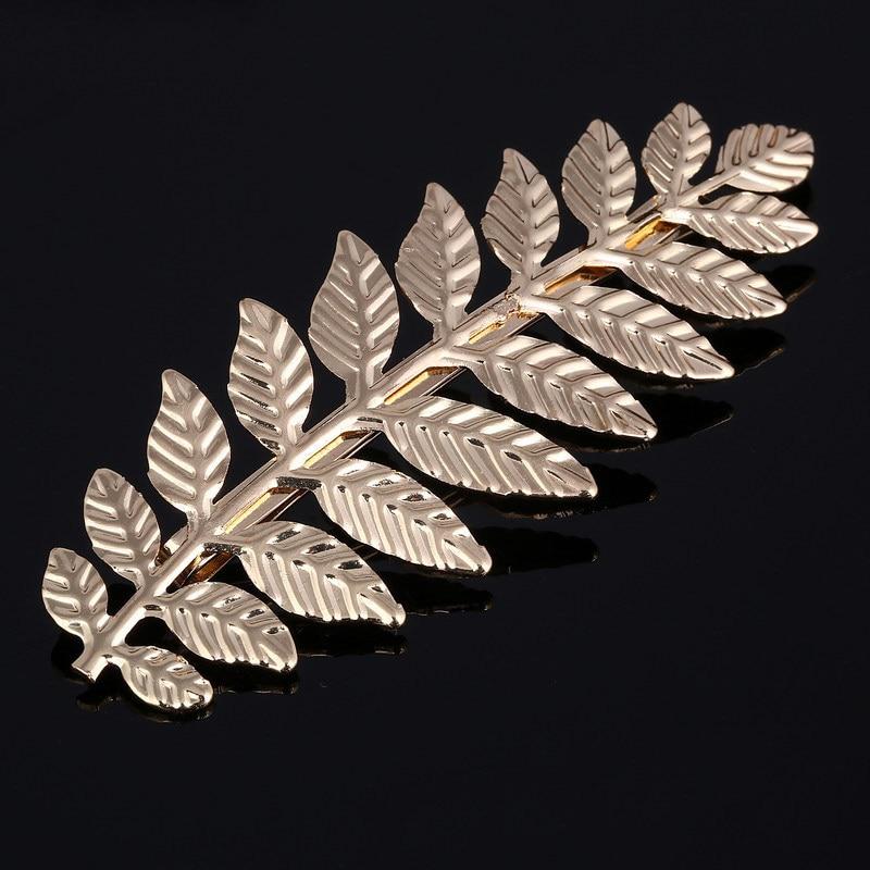 Hair-Clip Bobby-Pin Olive-Leaves Leaf Metal Gold Girls Vintage Baroque Women Big