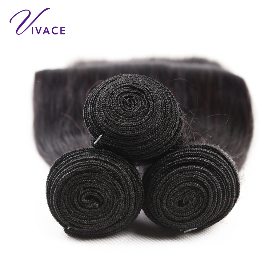 Vivace  Hair Brazilian Straight Human Hair 4 Bundles 100%  Hair Weaves Natural Color Remy Hair Extension  10-28 inch