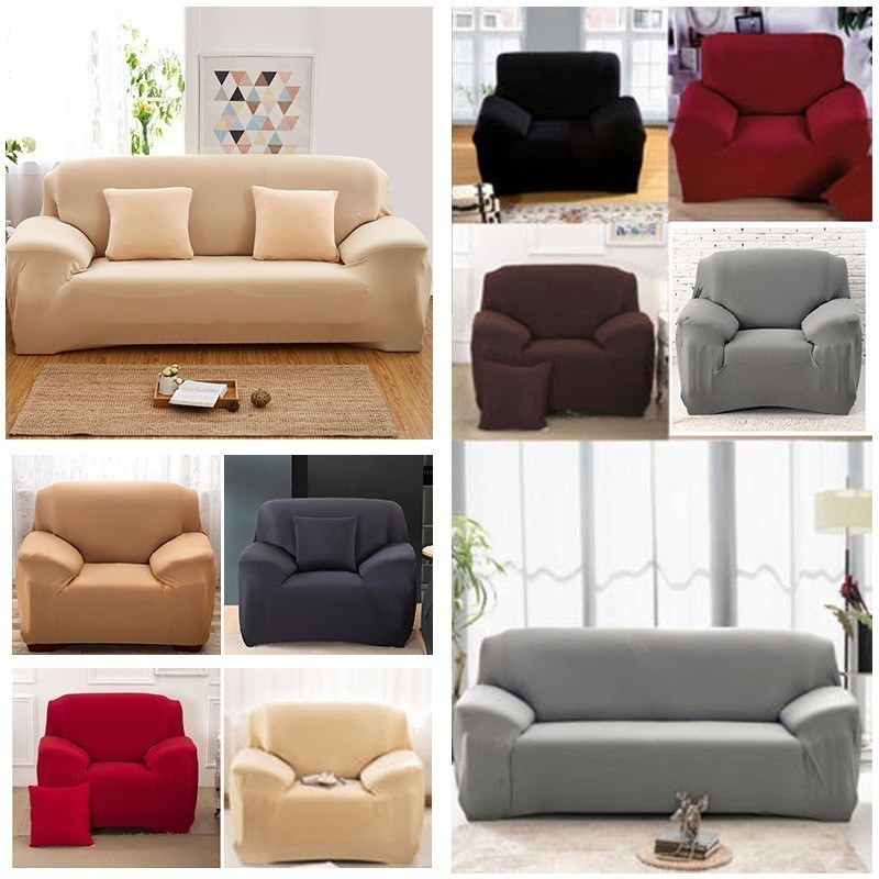 1/2/3/4 Seat Modern Solid Sofa Cover Spandex Elastic Polyester Couch Slipcover Chair Furniture Protector Living Room 6 Colors
