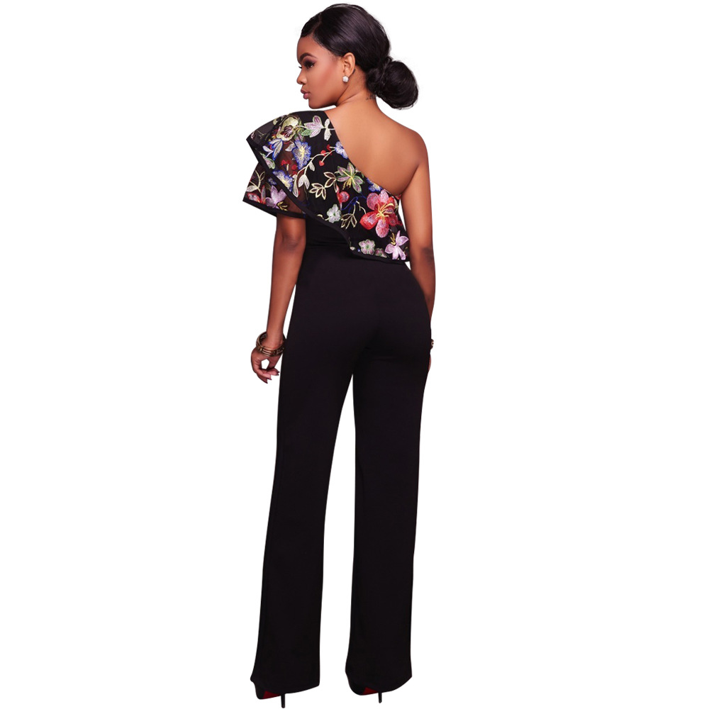 878273340d8 Zmvkgsoa Embroidery Floral Ruffle Jumpsuits Womens Romper Overalls ...