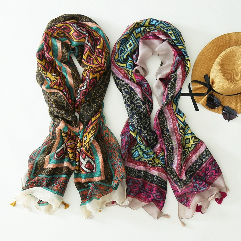 2016 Newest Women Geometry PatternTassel   Scarf   Rhombus Print Quality Printed   Scarf     Wrap   Shalw Hijab10pcs/lot Free Shipping
