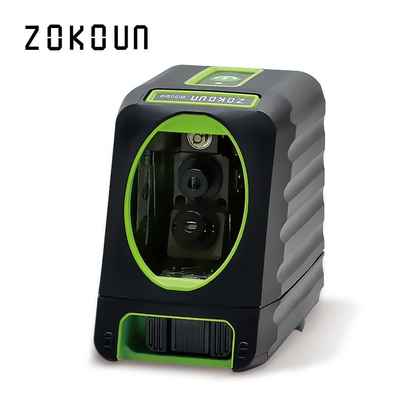 Zokoun CE certificated barra de borracha coberta de proteção contra quedas funcional 2 verde Linhas de auto-nivelamento Cruz nível do laser linha verde