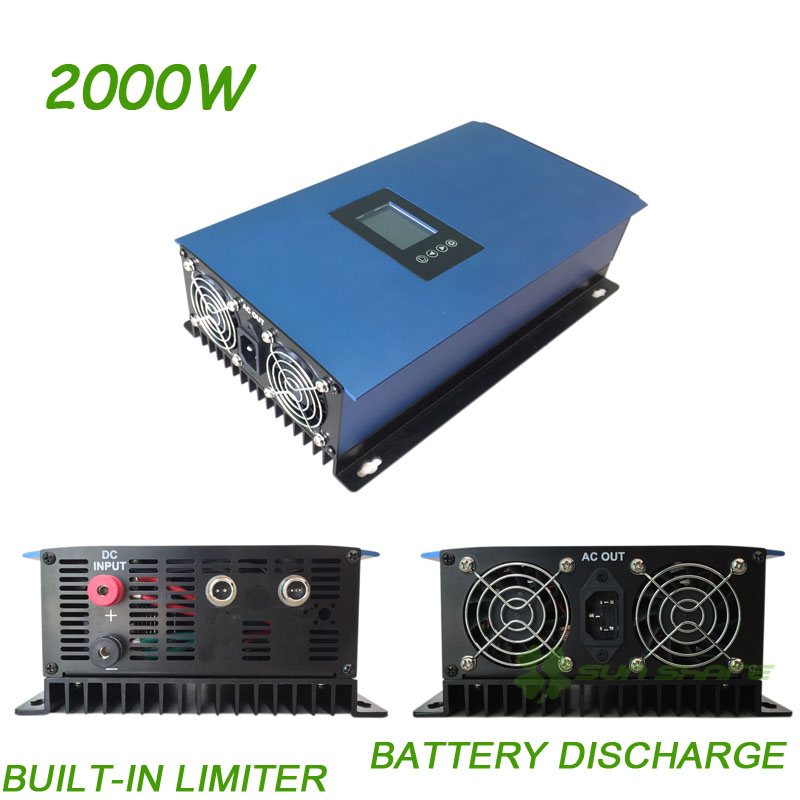 Free shipping! New Updated! High efficiency 2000W MPPT Solar Power Grid Tie Inverter(SUN-2000GTIL2-LCD) build-in power Limiter high quality 1200w solar grid tie micro inverter high efficiency