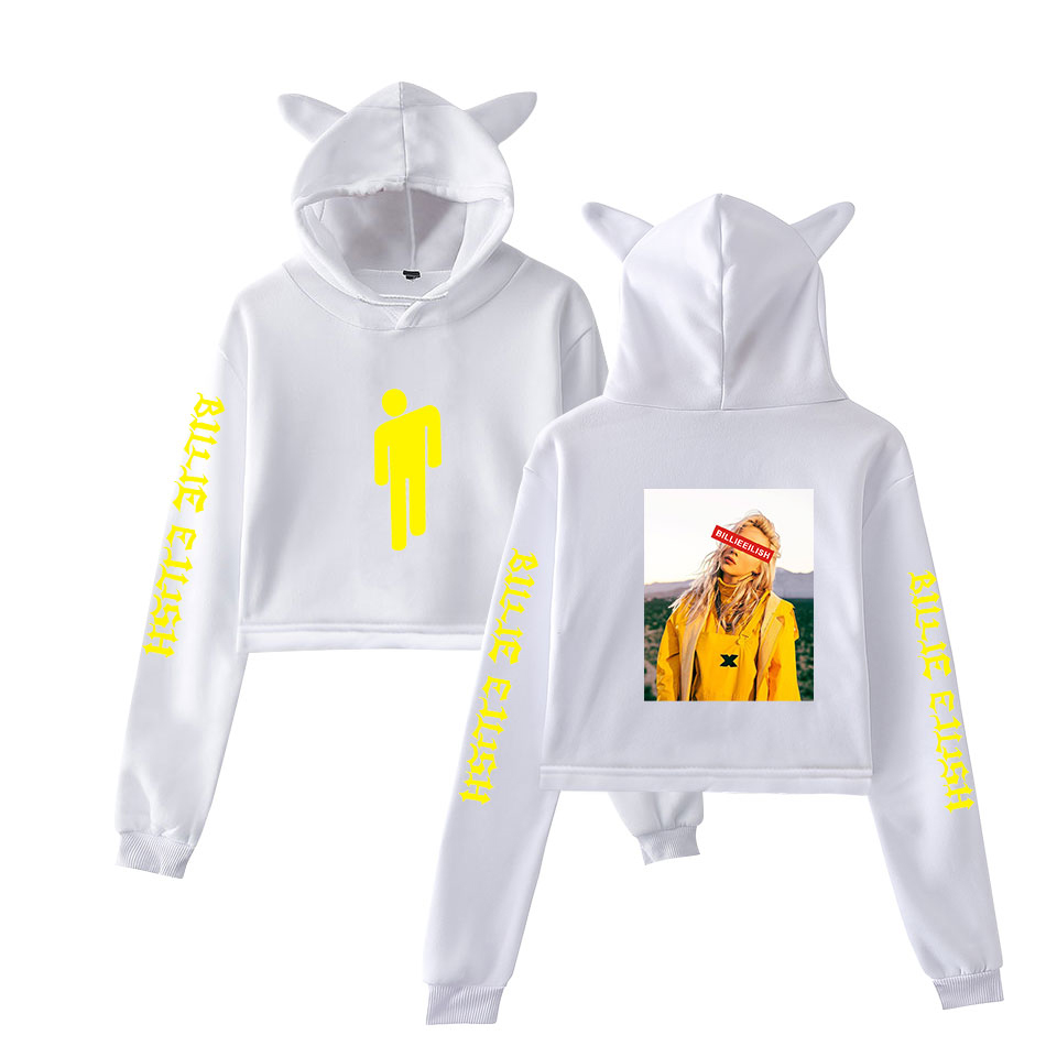 2019 New print singer 2019 Billie Eilish fashion Cat Crop Top Women summer Hoodies Sweatshirt Sexy Harajuku cat hooded fashion in Hoodies amp Sweatshirts from Women 39 s Clothing