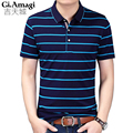 New Polo Shirt Men Short sleeve Stripe Cotton Casual Breathable Shirt Mens Turn-down collar Polos shirts homme Brand clothing