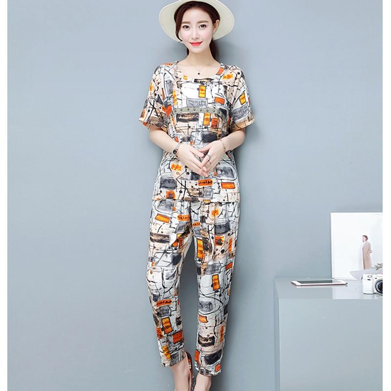 Summer Large size 2Piece Suit Sportswear Women Printing Sets Printing Cotton Linen2 Piece Sets Women Tracksuit Sets Two Piece