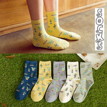 Women Size Cacti Socks Fashion Daily Plant Ball Cactus Lilac Lemon Fleshy Succulents Garden Home Soft