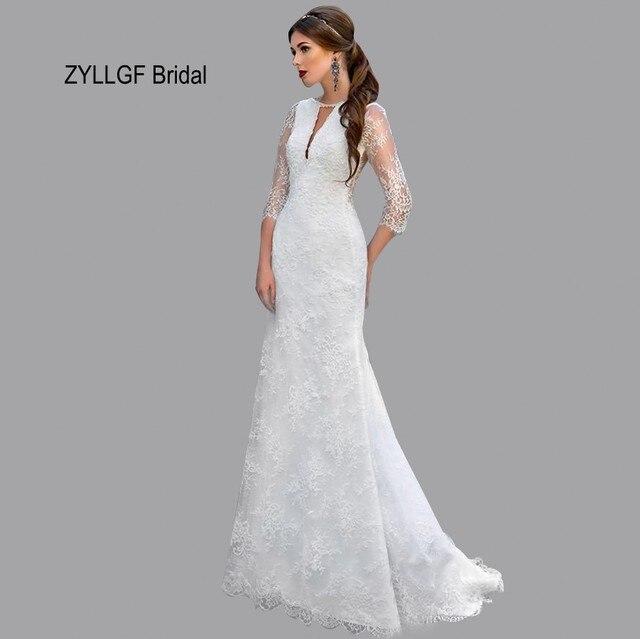 ZYLLGF Bridal Latest Half Sleeves Civil Dress Wedding Long Mermaid ...