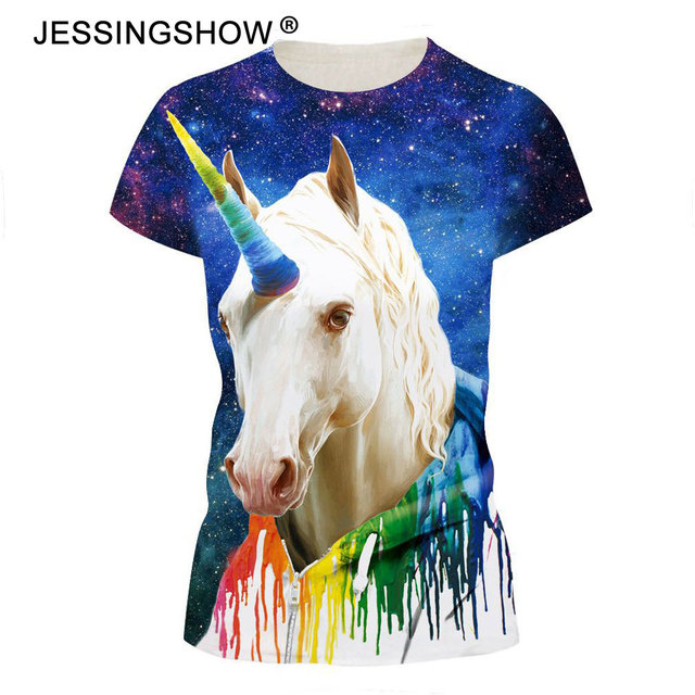 Jessingshow 3D Tshirt Women Short Sleeve T Shirt White Horse 3D Print  Fashion Harajuku Summer Hot 5d67e57dc8