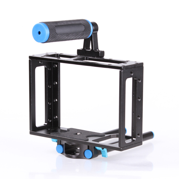 DSLR Camera Cage Support Stabilizer Rig for Canon 5D Mark II for Nikon D7000 D800 D90 color block plaid dress