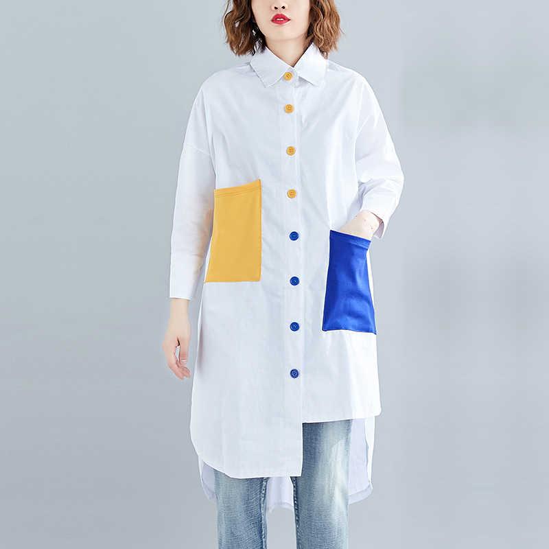 Уличная белая рубашка платье для женщин 2019 отложной воротник длинный рукав