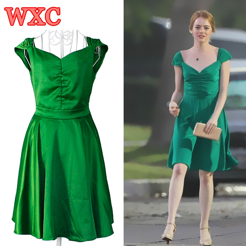 la la land emma stone mia green dress cosplay costume backless beauty women vintage dresses summer party prom dress vestidos wxc - Partyland Halloween Costumes