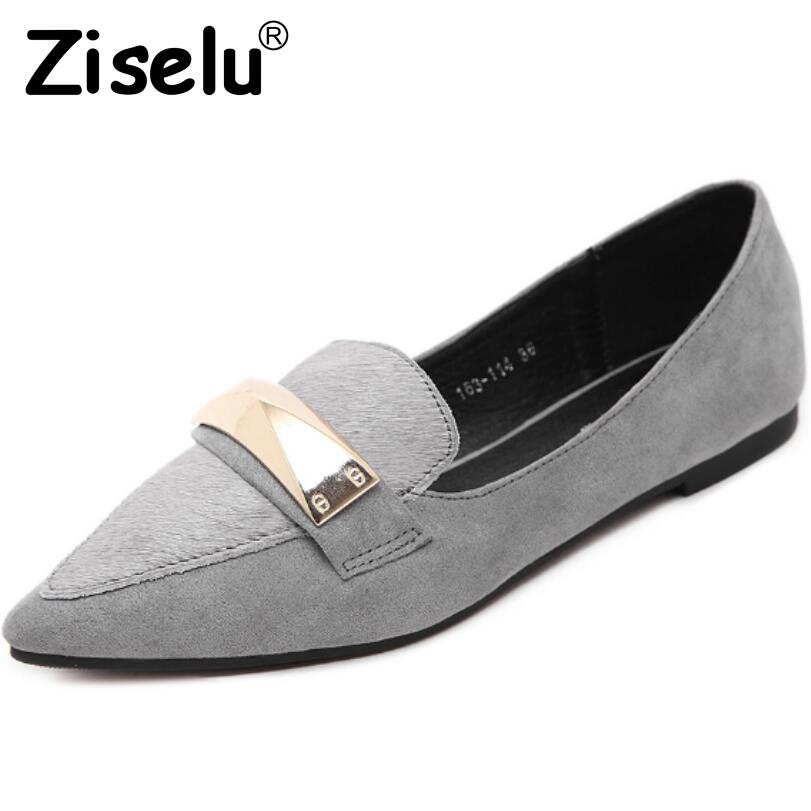 Ziselu 2017 New Pointed Toe Metal Decoration Women's Flats Spring/Autumn Slip-On Shallow Flats Shoes Leisure Loafers Shoes Woman women ladies flats vintage pu leather loafers pointed toe silver metal design