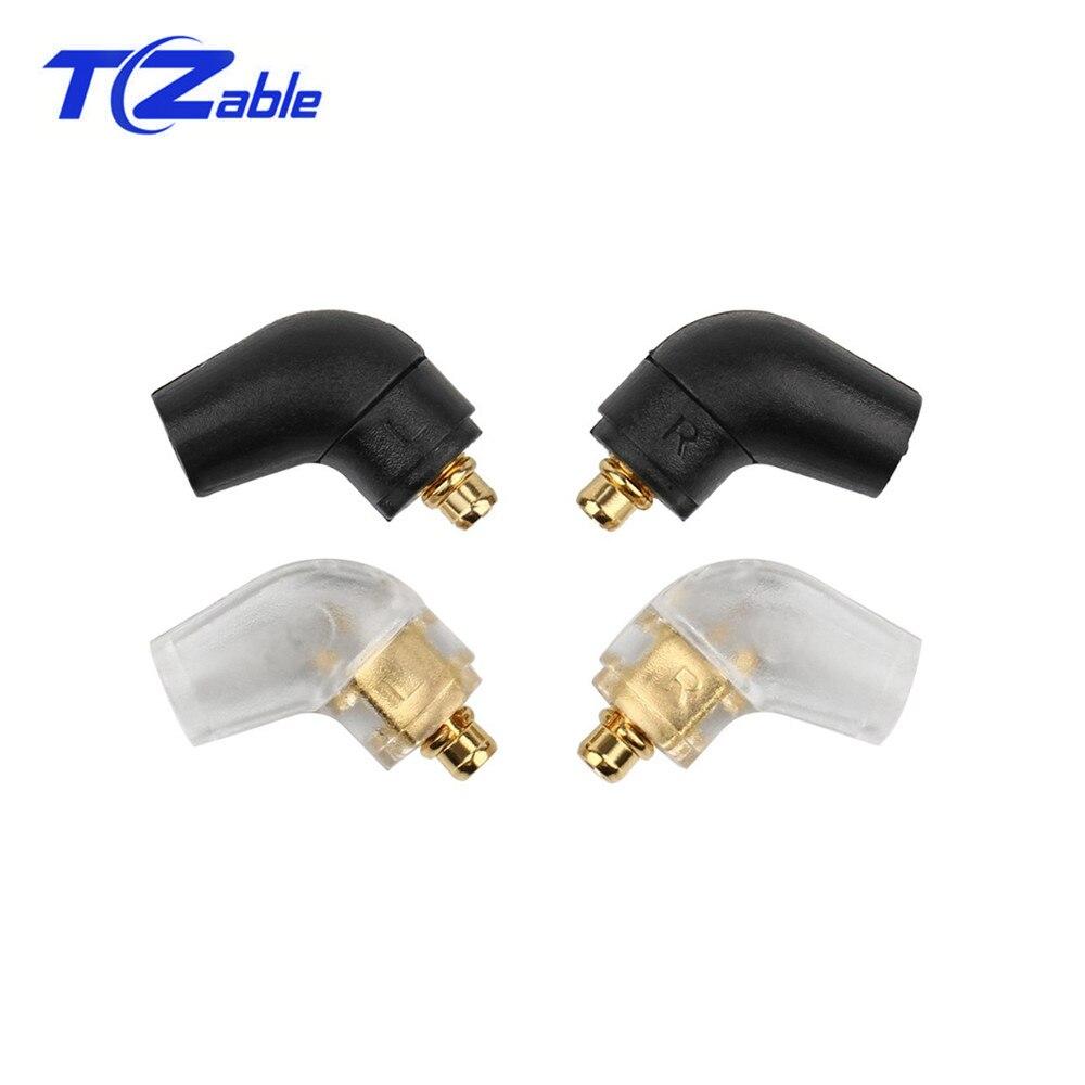 Black Silver Earphone DIY Custom Pin 135 Degree For MMCX Solderr Wire Connector Plug For ER4 XR SR ER4SR ER4XR SE315 SE535 UE900