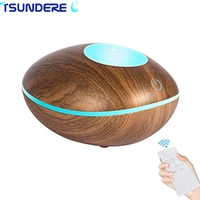 TSUNDERE L 200ML Touch Switch Remote Control Cool Mist Ultrasonic Aroma Essential Oil Diffuser Brown Wood