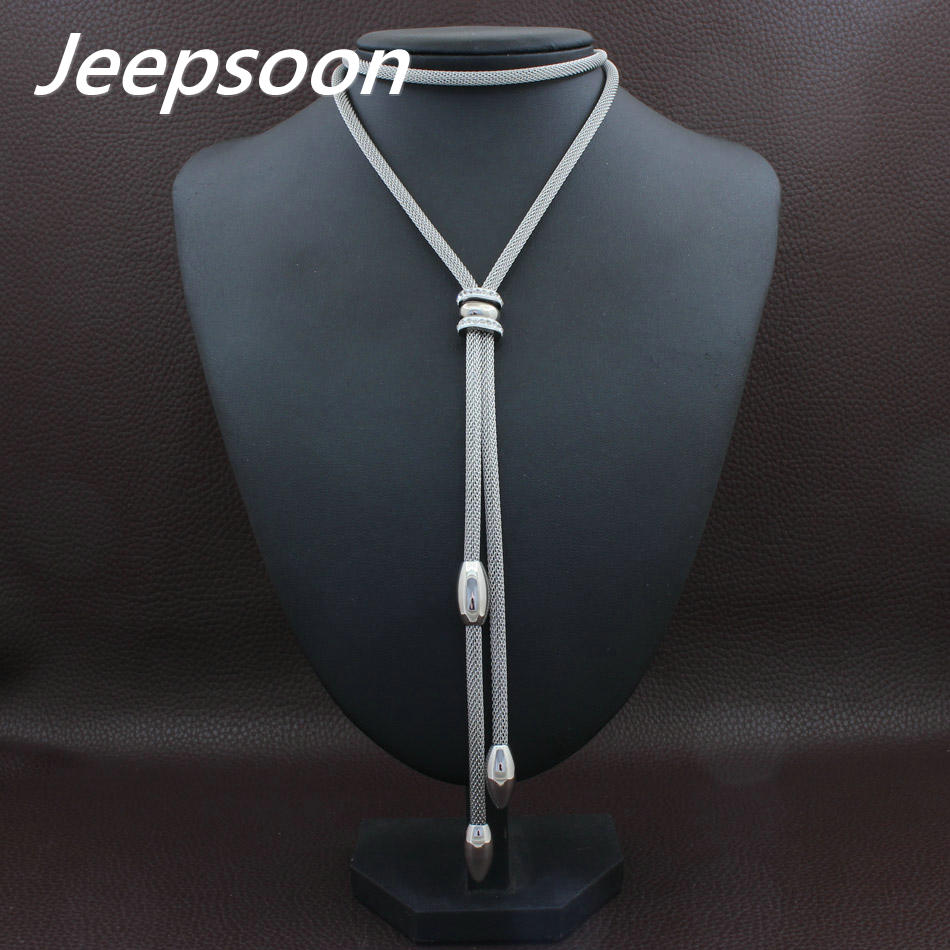 купить HOT Accessories Wholesale Long Stainless Steel Jewelry Fashion Silver Color Romantic Chain Necklace for women NEIACRBH недорого