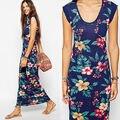 2015 Женская Мода Рукавов Пляж Цветочные Повседневные Платья Вечера Партии Макси Длинное Платье