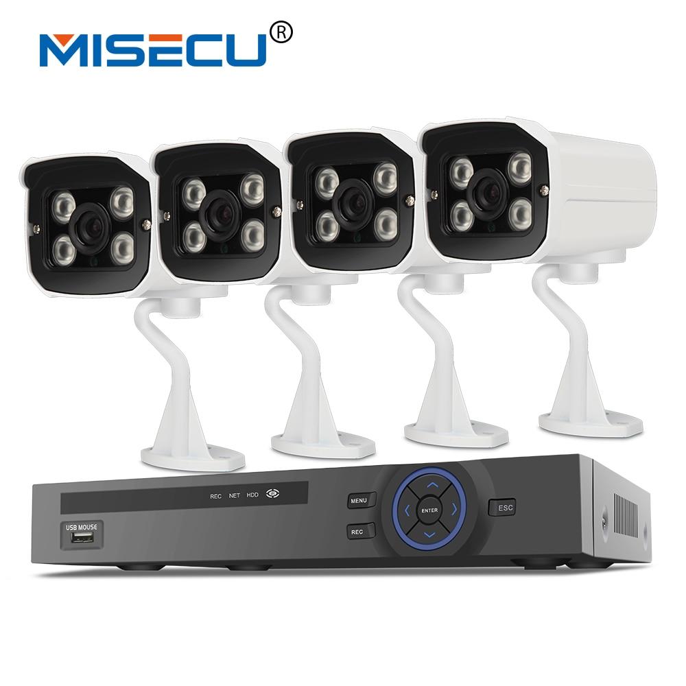 MISECU 48V 1080P POE System 4CH Real POE NVR 48V Onvif 1080P HDMI VGA 4 array IR waterproof P2P cloud Surveillance system XMEye 16ch poe nvr 1080p 1 5u onvif poe network 16poe port recording hdmi vga p2p pc