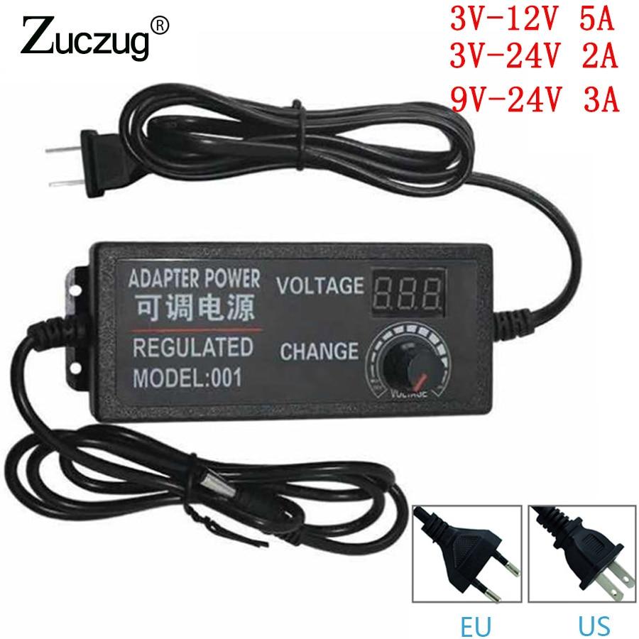 Ajustable AC a DC 3 V-12 v 3 V-24 V 9 V-24 V Universal adaptador con pantalla tensión regulada de alimentación adatpor 3 12 24 V