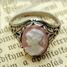 BOAKO Vintage Round Rings for Women Virgin Mary Catholic Portrait Ring Fashion Charm Punk Accessorie Religious Jewelry Anillos