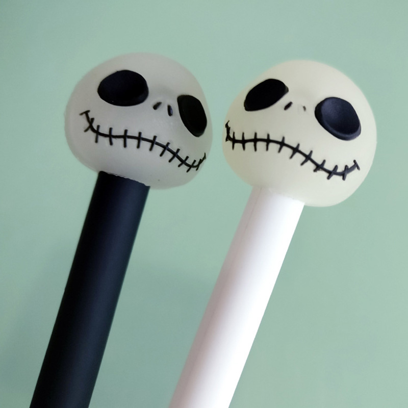 2 pcs/lot Creative Kawaii Luminous Skull Gel Pens Cute Novelty Neutral Pens For Writing Gift Korean Stationery School Supplies