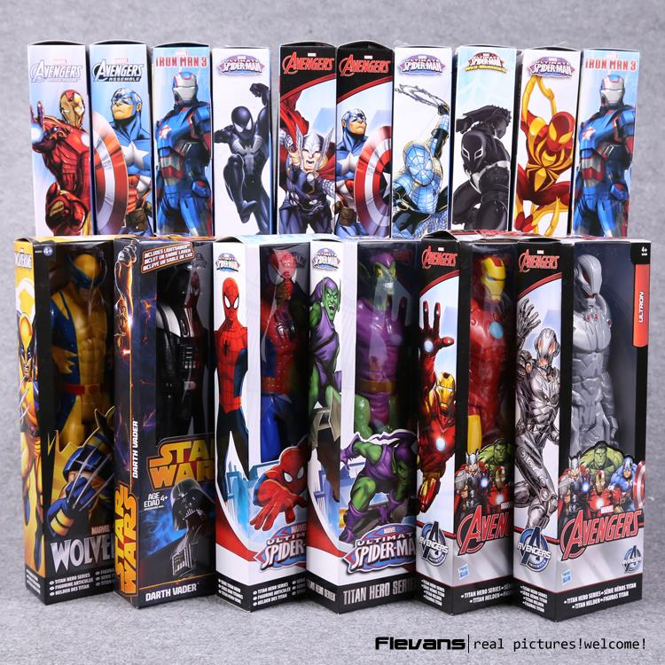 Titan Hero Series Avengers Superheroes PVC Action Figures Toys 12 30cm Iron Man Spiderman Thor Captain America HRFG451 marvel hero series avengers superheroes pvc action figures toys spiderman ironman superman batman thor collection model toys