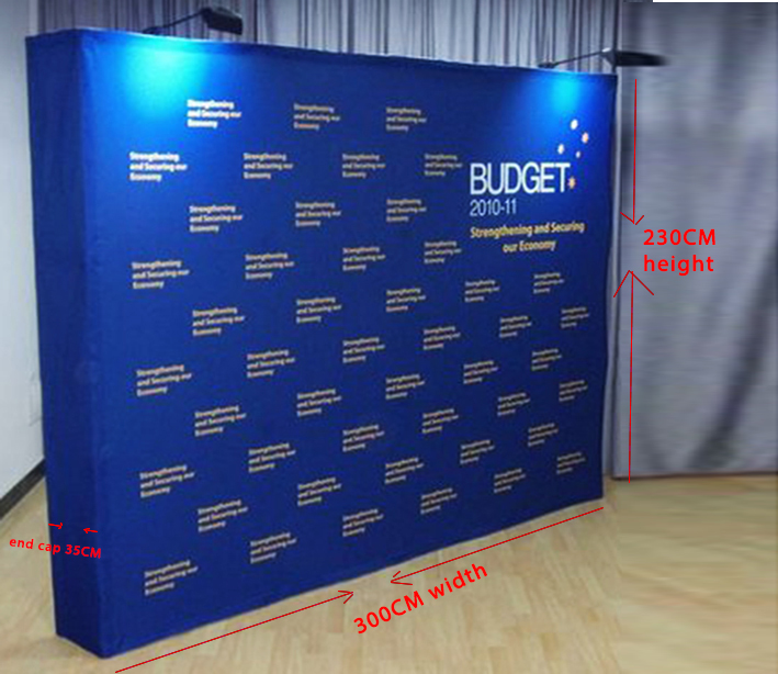 US $410 0 |Custom 3X4 fabric POPup 230X300CM Display Exhibition 8*10ft  Banner Stand (free shipping to Korea, Malaysia, Singapore, Japan)-in Flags,