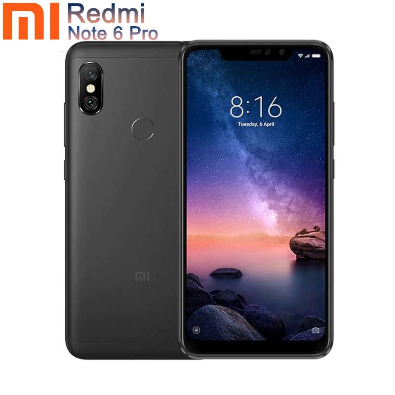 "Global version xiaomi redmi note 6 Pro black 4GB RAM 64GB ROM Mobile Phone 6.26"" 12+5MP Camera Fingerprint case 4000mAh"