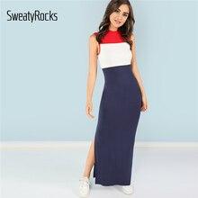 540e3a9e4094b6 SweatyRocks Color Block Split Shell Dress Women Elegant Slim Maxi Dresses  2019 Summer Streetwear Sleeveless Skinny