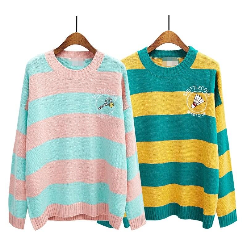 sweaters women harajuku style 2016 korean kawaii winter cartoon pullover stripes cute embroidery racket oversized sweater women