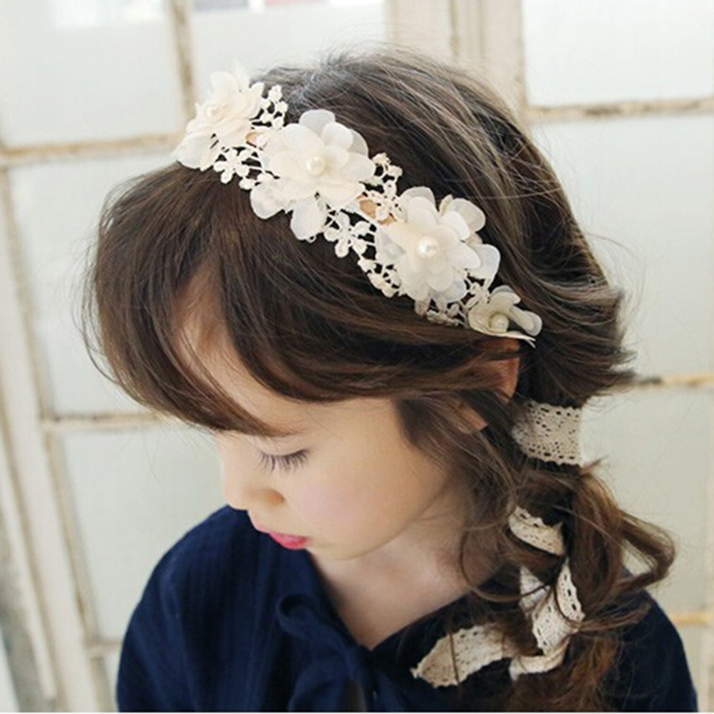 Hair accessories singapore - 1pcs Korea Style Cute Princess Headband Long Lace Ribbon Flower Hairbands Wreath Girls Headwear Kids Hair