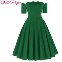 Sexy Off Shoulder Dresses Women Red Green 1950s Vintage Rockabilly Dress Audrey Hepburn Vestidos Casual Summer