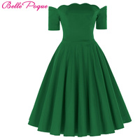 Sexy Off Shoulder Dresses Women Red Green 1950s Vintage Rockabilly Dress Audrey Hepburn Vestidos Casual Summer