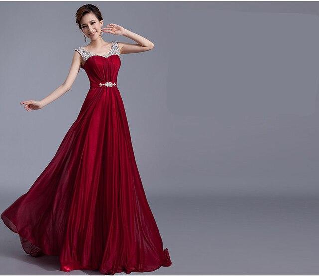 Fashion Rhinestones Beaded Burgundy Luxury Sleeveless Cheap Long ...