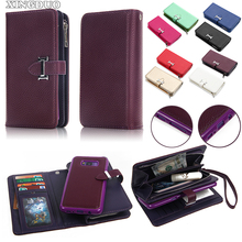 XINGDUO For samsung galaxy S8 case PU leather multifunctional hold Card Zipper Detachable Handbag Coin Wallet Case for S8 PLUS