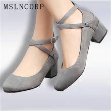 Plus Size 34-48 New hot sale cross-tied women pumps thick high heels party shoes fashion ladies Ankle Strap Dress Footwear