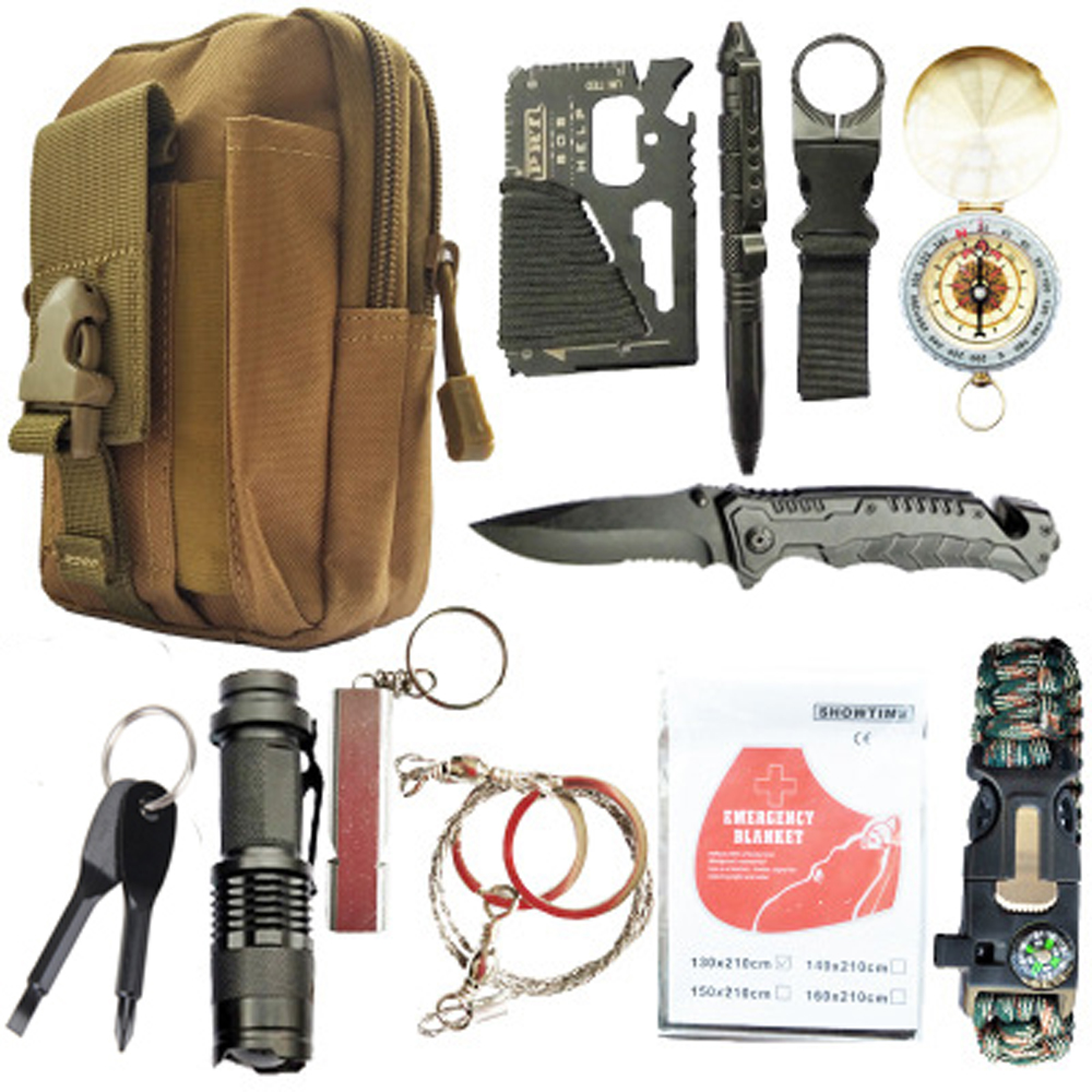 12 in 1 survival kit Set Outdoor Camping Travel Multifunction First aid SOS EDC Emergency Supplies